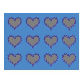 De grijze Krullende Harten van de Rand op Blauw Briefkaart