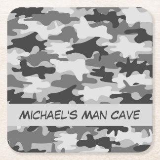 De grijze Naam van de Camouflage Camo Vierkante Onderzetter