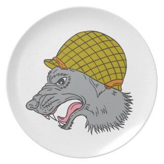 De grijze Tekening van de Helm van de Wolf Hoofd Bord