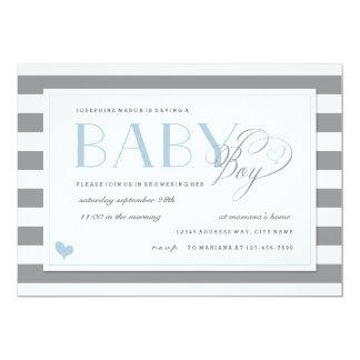 De grijze & Witte Blauwe Accenten van de Douche 12,7x17,8 Uitnodiging Kaart