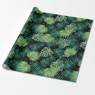 De groene Bladeren van de Boom plant Patroon Cadeaupapier