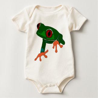 De groene Cartoon van de Kikker Baby Shirt