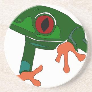 De groene Cartoon van de Kikker Zandsteen Onderzetter
