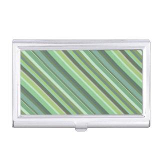 De groene diagonale strepen van de olijf visitekaarthouder