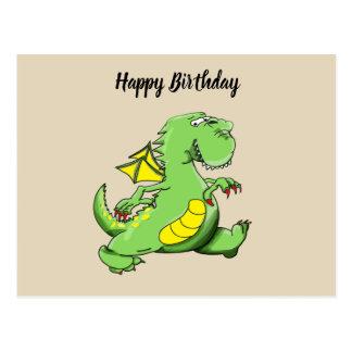 De groene draak die van de cartoon op zijn briefkaart