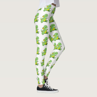 De groene draak die van de cartoon op zijn leggings