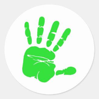 De groene druk van de Hand Ronde Sticker