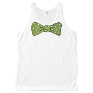 De groene Druk van de Vlinderdas met het Witte All-Over-Print Tank Top