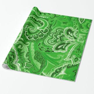 De groene Elegante Retro Hippy Paisley Bandana van Inpakpapier