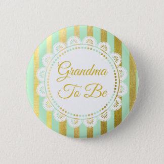 De Groene en Gouden Gestreepte Oma van de munt om Ronde Button 5,7 Cm