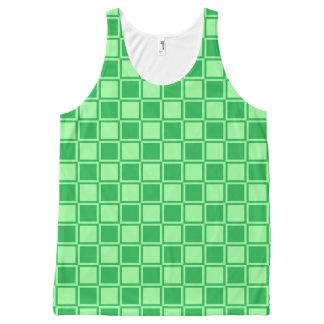 De groene en Groene Geschetste Vierkanten van de All-Over-Print Tank Top