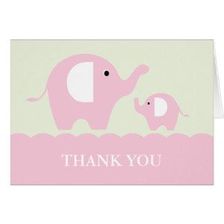 De groene en Roze Mamma en Olifanten van het Baby Notitiekaart
