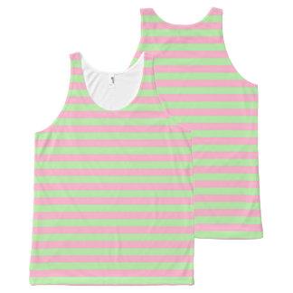 De Groene en Roze Strepen van de munt All-Over-Print Tank Top