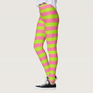 De Groene en Roze Strepen van het limoen Leggings