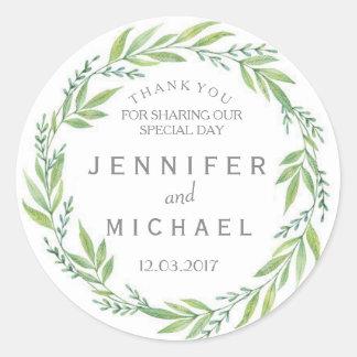 De groene en Witte kroon dankt u huwelijksSticker Ronde Sticker