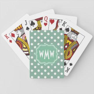 De Groene en Witte Stippen met monogram van de Speelkaarten