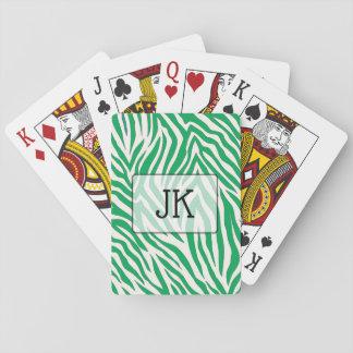 De Groene gestreepte speelkaarten met monogram van