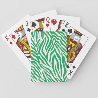 De groene gestreepte speelkaarten van de