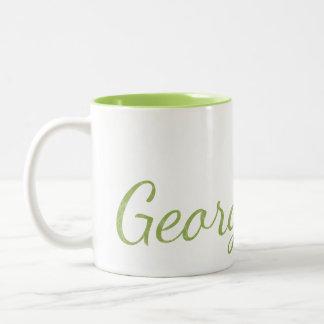De Groene Geweven Naam Met monogram van het limoen Tweekleurige Koffiemok