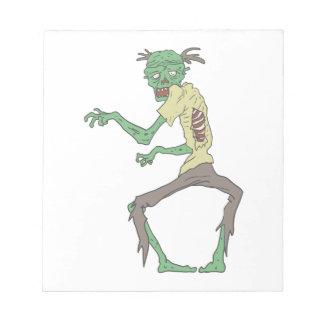 De groene Griezelige Zombie van de Huid met Notitieblok