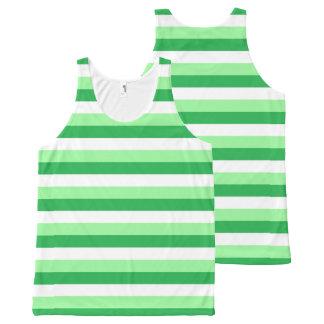 De Groene, Groene en Witte Strepen van de munt All-Over-Print Tank Top