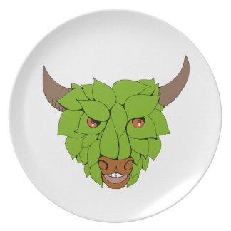 De groene HoofdTekening van de Stier Melamine+bord
