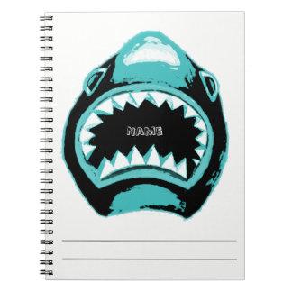 De Groene Illustratie van de Waterverf van de haai Ringband Notitieboek