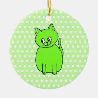 De Groene Kat van het limoen Rond Keramisch Ornament