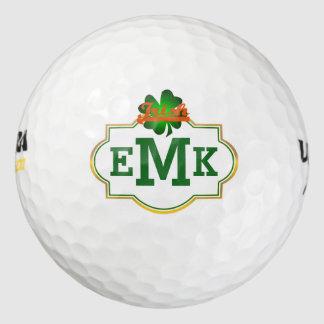 De groene Klaver het Aanvankelijke Iers Drie van Golfballen