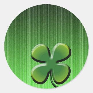 De groene Klaver van Vier Blad Ronde Sticker