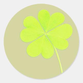 De groene Klaver van Vier Blad Ronde Stickers