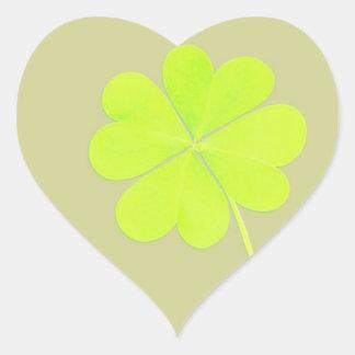 De groene Klaver van Vier Blad Hart Stickers