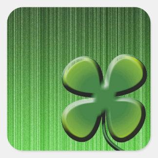 De groene Klaver van Vier Blad Vierkant Sticker