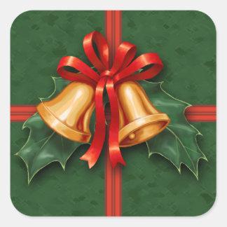 De Groene Klokken van Kerstmis en de Bladeren van Vierkante Sticker