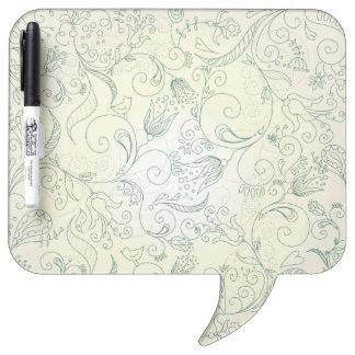 De groene Krabbels van de Bloem en van de Vogel Dry Erase Whiteboard
