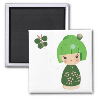De groene Magneet van het Drietal Kokeshi