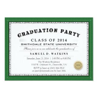 De groene Partij van de Afstuderen van het Diploma 12,7x17,8 Uitnodiging Kaart