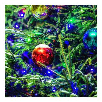 De groene Rode Bal van de Kerstboom Fotoafdruk