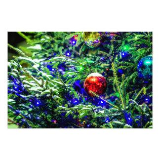 De groene Rode Bal van de Kerstboom Fotoafdrukken