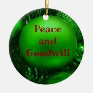 De groene Rode van de Goodwill van de Vakantie Rond Keramisch Ornament