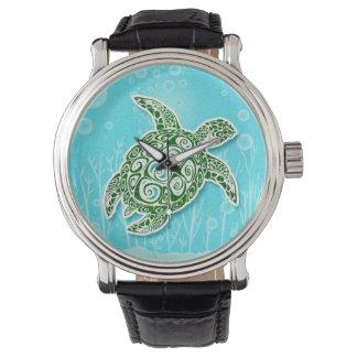 De groene Schildpad van het Zee Onderwater Polshorloge