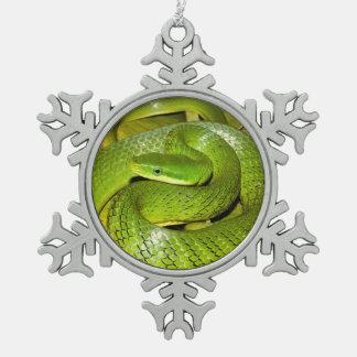 De groene Slang van de Rat van Bush Tin Sneeuwvlok Ornament