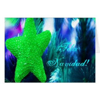 De Groene Ster van Feliz Navidad van Kerstmis Wenskaart