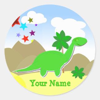 De groene Sticker van de Naam van de Dinosaurus