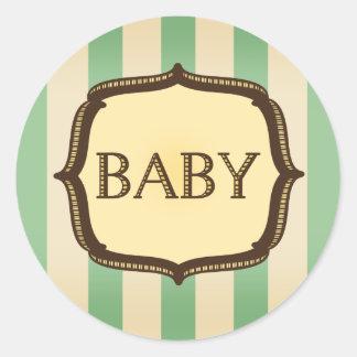 De groene Sticker van het Baby shower - Vintage