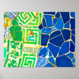 De groene Tegels van Parc Guell van het Mozaïek in Poster