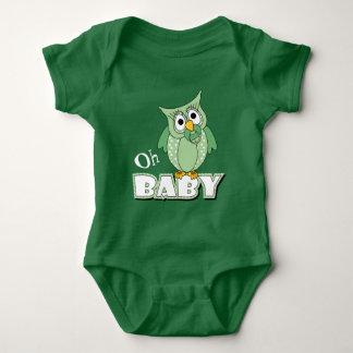 De groene Uil van het Baby van de Stip Romper