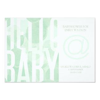 De groene Uitnodiging van Watercolour Babyshower