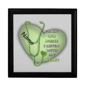 De groene Verpleegster van het Hart LPN Vierkant Opbergdoosje Large