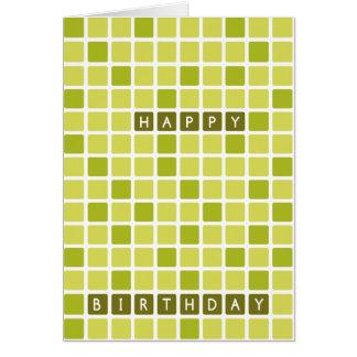De groene Vierkante Geometrische Gelukkige Kaart